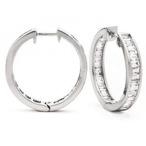 Elegant baguette diamond hoop earrings