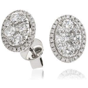 Sparkling diamond oval earrings