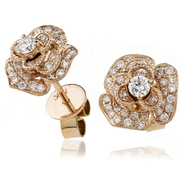 Beautiful flower diamond earrings
