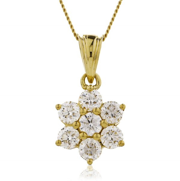 Sparkling diamond flower pendant