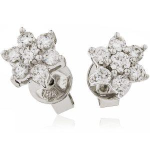 Sparkling flower diamond earrings