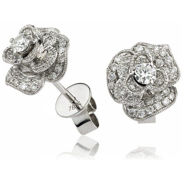 Wonderful flower diamond earrings