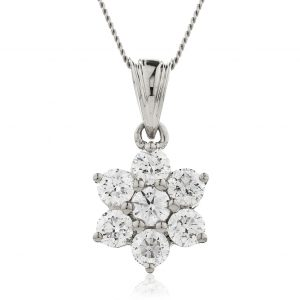 Sparkling flower diamond pendant
