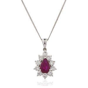 Stunning diamond ruby gold pendant