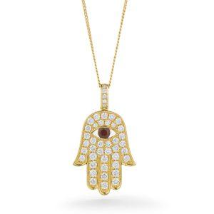Colourful diamond ruby Evil Eye pendant