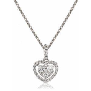 Dainty diamond heart pendant