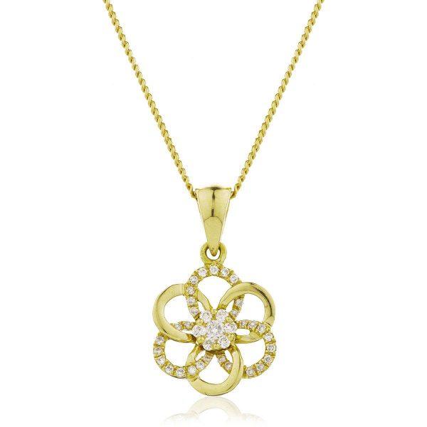 Dainty diamond gold pendant