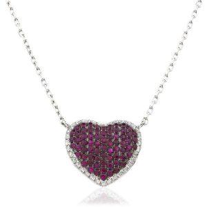 Stunning ruby diamond heart pendant