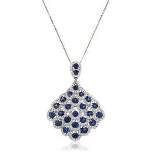 Colourful diamond sapphire gold pendant