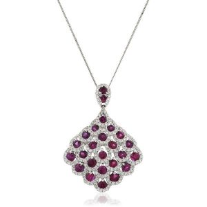 Colourful diamond ruby gold pendant
